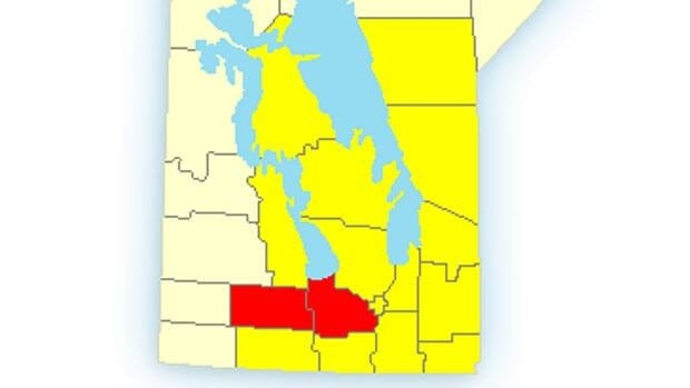 The yellow-coloured areas represent those under a weather watch while those in red are under a warning.