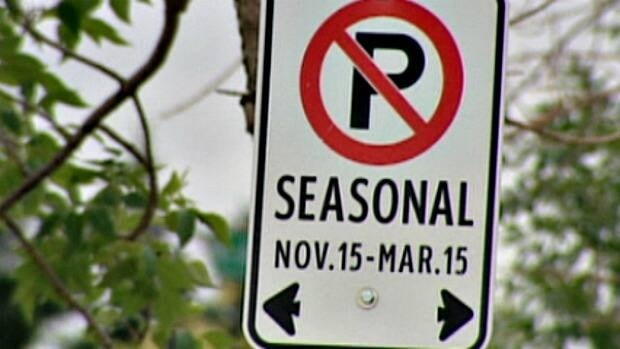 The city is erecting signs banning parking on snow routes in residential neighbourhoods.