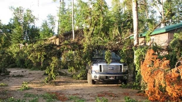 The thunderstorm near Big River, Sask., knocked down trees at the Poplar Point Resort early Monday morning.