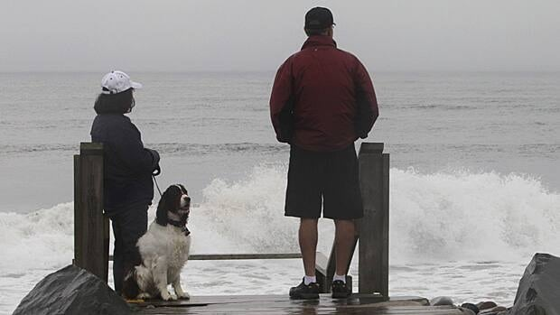 A couple watches the waves along Lawrencetown beach near Halifax on Sunday as parts of Quebec and Atlantic Canada are bracing for the effects of Tropical Storm Irene.