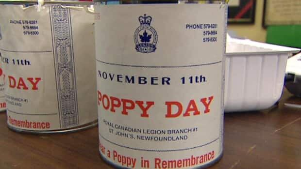 At least 30 poppy tins have been stolen in the St. John's area.