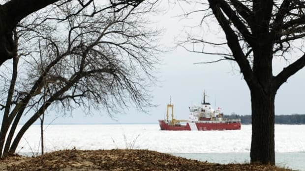 The Canadian Coast Guard ship Griffon heads north into Lake Huron in March, 2010. The International Joint Commission released its biennial state of the Great Lakes' on Wednesday.