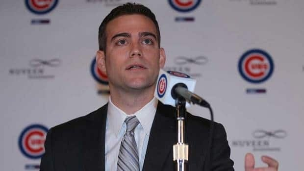 Theo Epstein, the new President of Baseball Operations for the Chicago Cubs, speaks during a press conference at Wrigley Field on Oct. 25.