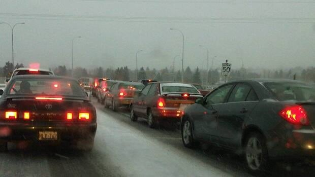 The first snowfall of the season in Calgary led to accidents and delays all around the city. Mark Matulis/CBC