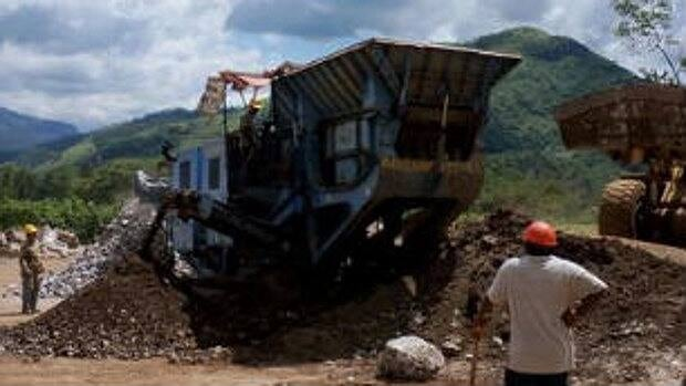 A crusher at work at Blackfire Exploration Ltd.'s barite mining operation in Chiapas, Mexico.