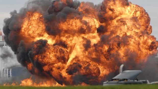 A plane burst into flames after crashing at an air show in Martinsburg, W. Va. Saturday.