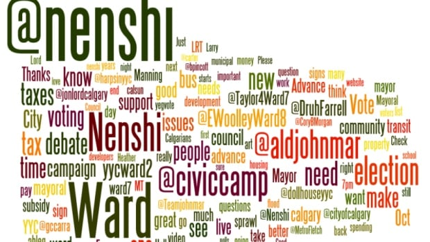 Main keywords used on social media around the Calgary municipal election from Sept. 23 to Oct. 11. The bigger the word, the more times it was used.