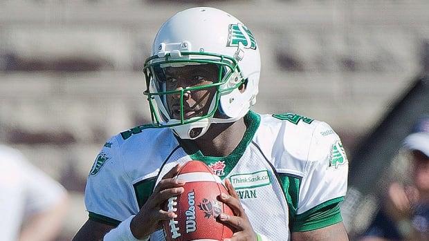 Saskatchewan Roughriders' quarterback Darian Durant in Montreal, Sunday, September 29, 2013.