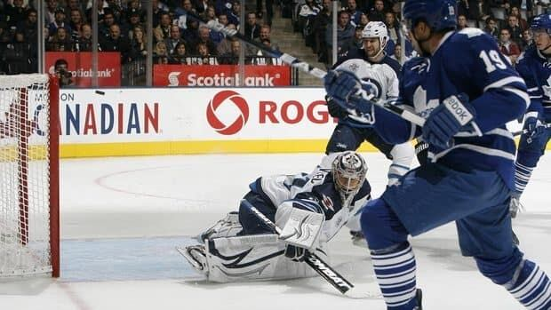 Toronto's Joffrey Lupul (19) scores on Jets goalie Ondrej Pavelec (31) in the first period Wednesday at the Air Canada Centre.