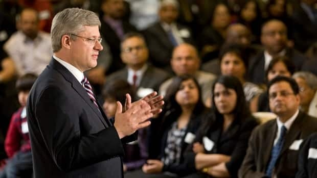 Conservative leader Stephen Harper takes part in a campaign event in Mississauga, Ont., on Saturday.