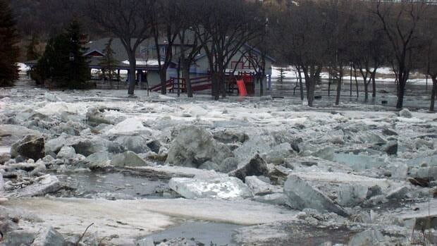 A buidling in a low-lying park in Moose Jaw was surrounded by ice and water from the Moose Jaw River Friday.