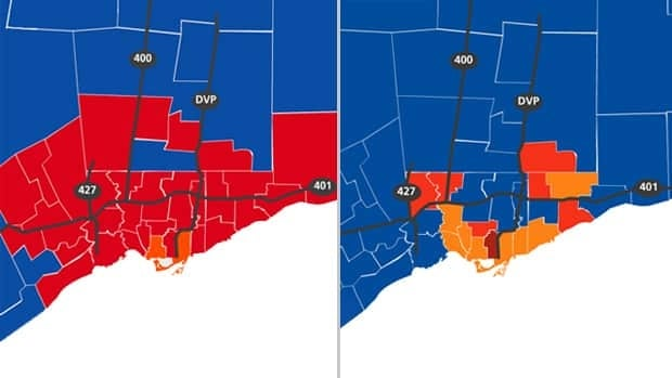 This map shows the riding distribution in the GTA after the 2008 federal election (left) and the current composition after Monday night's vote (right).