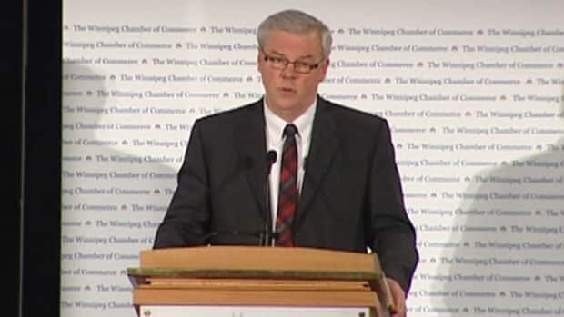 Manitoba Premier Greg Selinger delivers his annual state-of-the-province address in Winnipeg on Thursday.