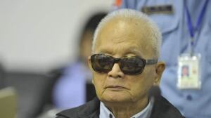 Former Khmer Rouge leader 'Brother Number Two' Nuon Chea attends his trial at the Extraordinary Chambers in the Courts of Cambodia (ECCC) on the outskirts of Phnom Penh.