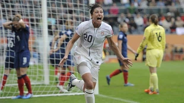 United States forward Abby Wambach celebrates after scoring the winning goal against France on Wednesday.