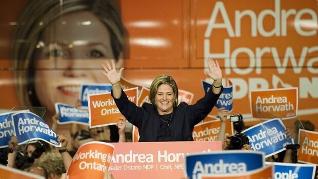 Ontario NDP Leader Andrea Horwath addresses her supporters at the Hamilton Convention Centre after the election results reveal her party's third-place finish.