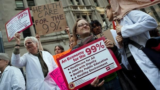 Demonstrators at the Occupy Wall Street protests demand affordable health care for the 99 per cent of lower- and middle-income Americans. A new U.S. government study says the rich are getting richer at a much faster rate than poor and middle-class citizens.