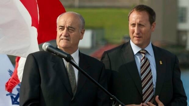 Julian Fantino, the junior minister responsible for military procurement, left, with Defence Minister Peter MacKay, has confirmed Wednesday that a decision on $35 billion of government shipbuilding contracts is coming soon.