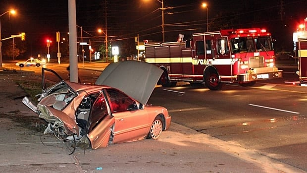 A man in his 20s was killed after his car smashed into a pole early Monday morning, splitting the vehicle in two pieces at Kennedy and Finch. Police believe speed may have been a factor in the crash.