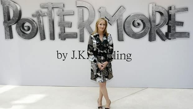 British author J.K. Rowling announces her new website project Pottermore at the Victoria and Albert Museum in London on Thursday. (Akira Suemori/Associated Press)