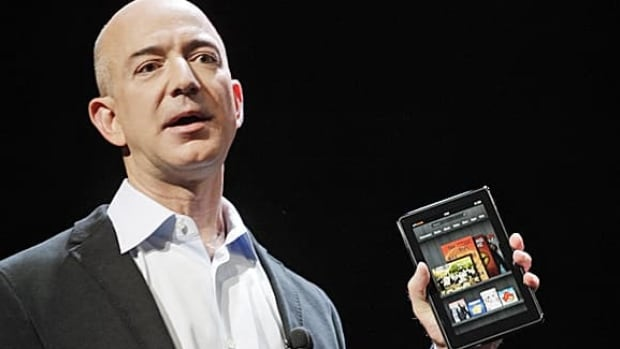 Jeff Bezos, chairman and CEO of Amazon.com, introduces the Kindle Fire at a news conference in New York.
