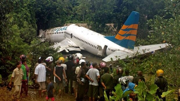 Indonesian air carriers have suffered a spate of disasters in recent years. In April 2010, the Merpati Airlines 737 seen here skidded off the runway while landing in the West Papua city of Manokwari, injuring 70 people.