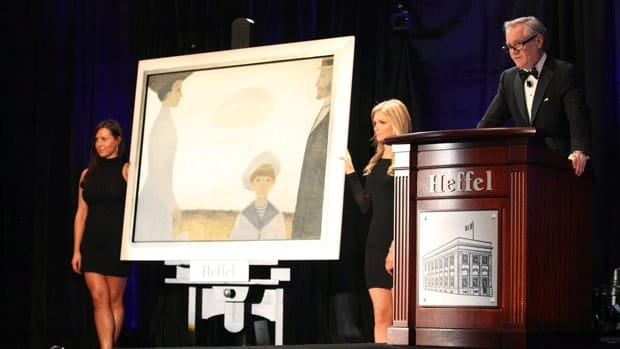 David K.J. Heffel auctions off Jean Paul Lemieux's Nineteen Ten Remembered. Bidding for the painting reached $2 million, with the purchaser paying $2.34 million in total after adding a buyer's premium.