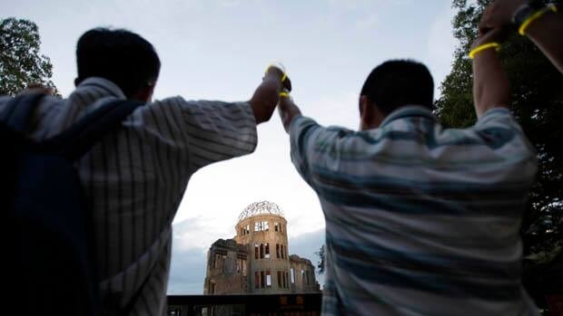 Saturday's ceremony marking the anniversary of the atomic bombing was held in front of the Hiroshima Peace Memorial, commonly called the  Atomic Bomb Dome or A-Bomb Dome.