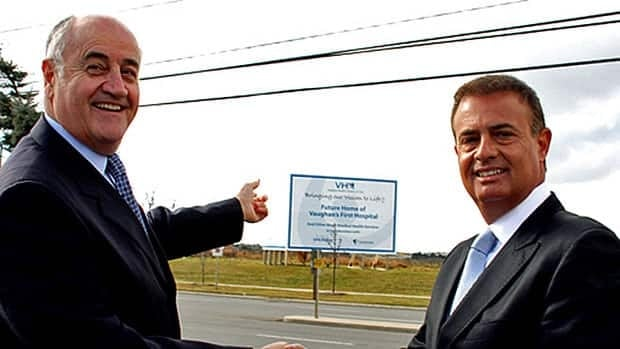 Vaughan MP Julian Fantino, left, and developer Michael DeGasperis stand at the proposed site of the Vaughan Health Campus of Care.