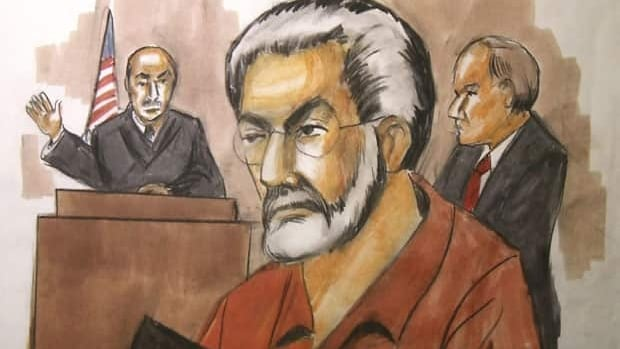 In this January 2010 sketch, Chicago businessman Tahawwur Rana, centre, appears in a Chicago federal court. It is alleged that Rana was in on the planning of the Mumbai attacks by a team of 10 terrorists.