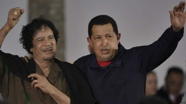 Libyan leader Moammar Gadhafi (left)and Venezuela's President Hugo Chavez in September 2009: Chavez has criticized the air attacks on Libya.