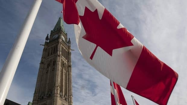 A Canadian flag flies on under the Peace Tower ahead of the resumption of parliament in Ottawa Wednesday March 3, 2010.