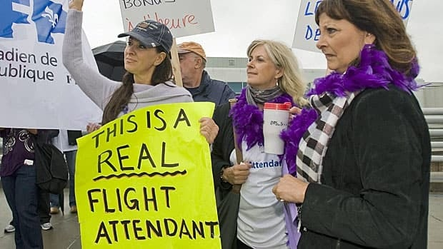 Air Canada flight attendants at a rally at Montreal airport in September 2011.