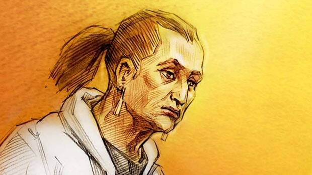 Rosemarie Creswell, shown in this court sketch, pleaded guilty to assault after mall security footage showed her pulling off Inas Kadri's traditional face veil.