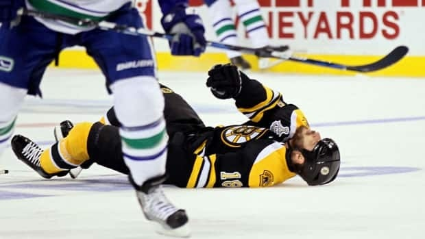 Nathan Horton was injured in the first period of Game 3, which Boston won 8-1.