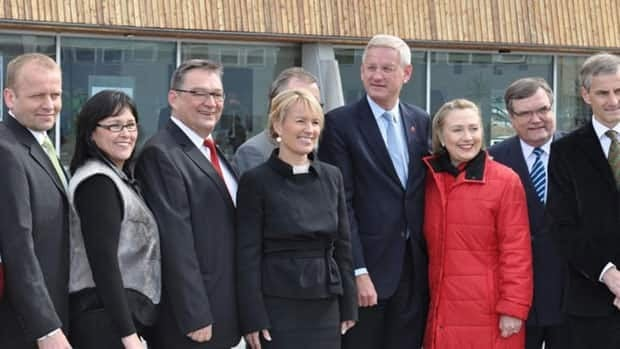 Arctic Council leaders, including Canada's Leona Aglukkaq, second from left, and U.S. Secretary of State Hillary Clinton, third from right, pose for a photograph in Nuuk, Greenland, on Thursday.