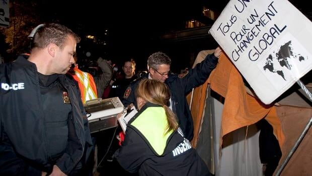 Earlier this month, city crews went through the Occupy site in Quebec City and removed anything deemed a fire hazard.