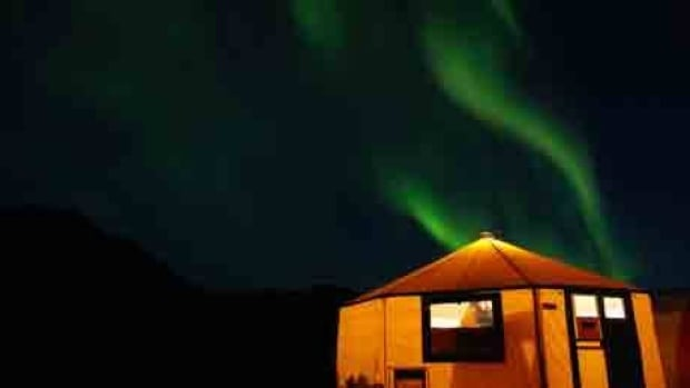 Northern lights at a camp site in northern Labrador.