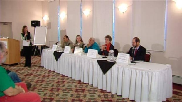 Yukon politicians talk environment at a standing-room-only forum in Whitehorse Tuesday.