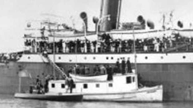 The Komagata Maru, sits in Vancouver's Coal Harbour in 1914.