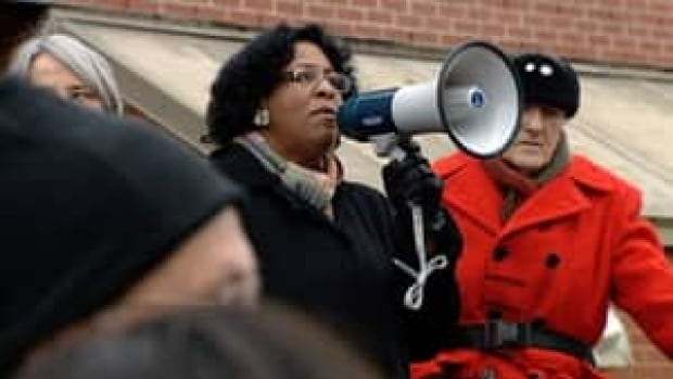 Rev. Rhonda Britton addresses a crowd at St. Patrick's Alexandra in this file photo.