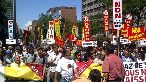 Shale gas protesters took to the street in Montreal Saturday.