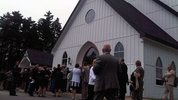 About 450 mourners packed into a Rothesay, N.B., church on Tuesday to attend the funeral of prominent businessman Richard Oland. (Bobbi-Jean MacKinnon/CBC)