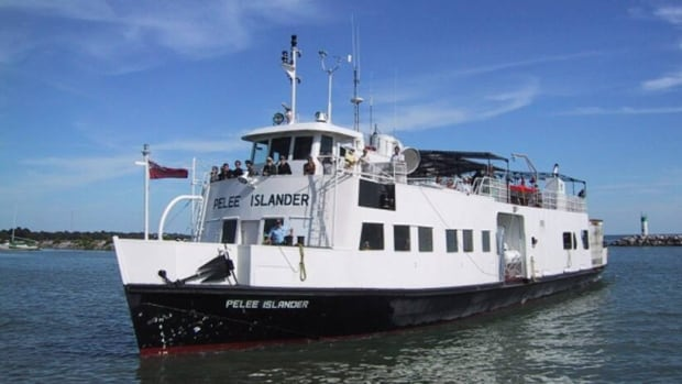 Pelee Islander, one of the ferries operating between the mainland and Pelee Island, will be delayed due to ice on Lake Erie.