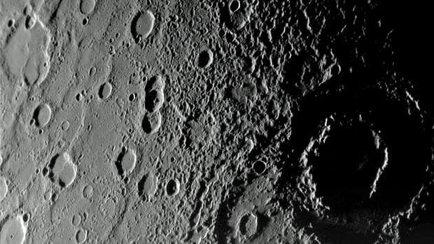 A view of the planet Mercury's rugged, cratered landscape is pictured in this Messenger spacecraft image taken from a distance of about 18,000 kilometres on Jan. 14, 2008. It shows a region roughly 500 kilometres across, and craters as small as one kilometre.
