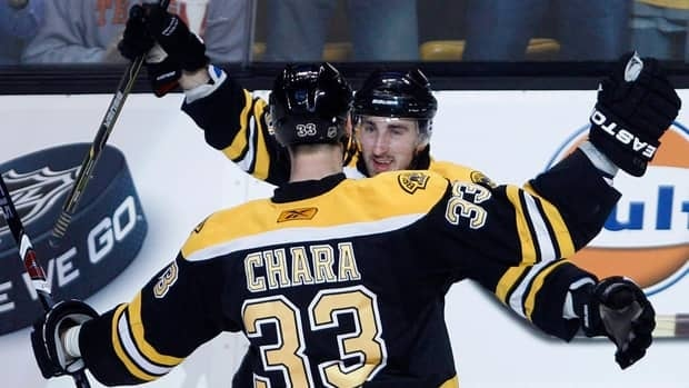 Boston Bruins defenceman Zdeno Chara (33) is congratulated by teammate Brad Marchand after his goal against the Philadelphia Flyers during the first period in Game 3 in Boston on Wednesday.