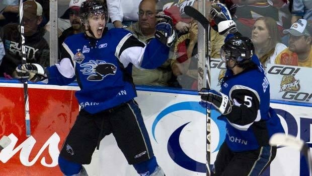 Saint John Sea Dogs Tomas Jurco, left, celebrates his game-tying goal with teammate Gabriel Bourret during third period against the Owen Sound Attack on Monday.