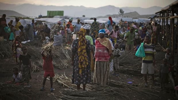 In addition to the 15 million refugees worldwide, there are almost 30 million internally displaced people, including those in this Congolese camp.