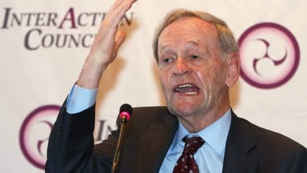 Former prime minister Jean Chretien, speaking at a news conference for the Inter Action Council on May 31, in Quebec City. (Clement Allard, Canadian Press)