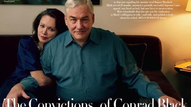 The cover couple on October's Vanity Fair is Canadian-born former media baron Conrad Black and his wife, Barbara Amiel. Black dishes on his life in prison, maintains his innocence and says he's now worth $80 million US in excerpts from the article released before the magazine goes on newsstands.